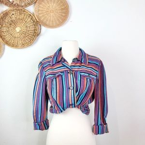 Evan Picone• Colorful Striped Long Slevee Blouse M